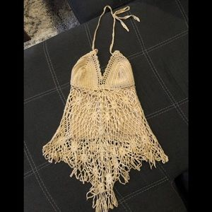 Tan crochet halter top. Perfect for burning man